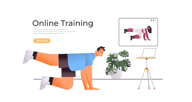 Junger mann, der dehnübungen macht, während er online-video-trainingsprogramm sieht