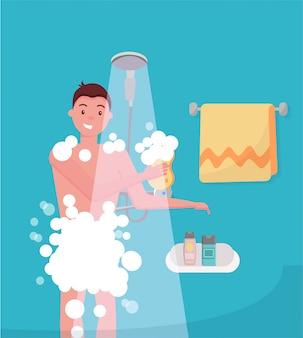 Junger mann, der dusche im badezimmer nimmt. guy wäscht sich mit waschlappen.