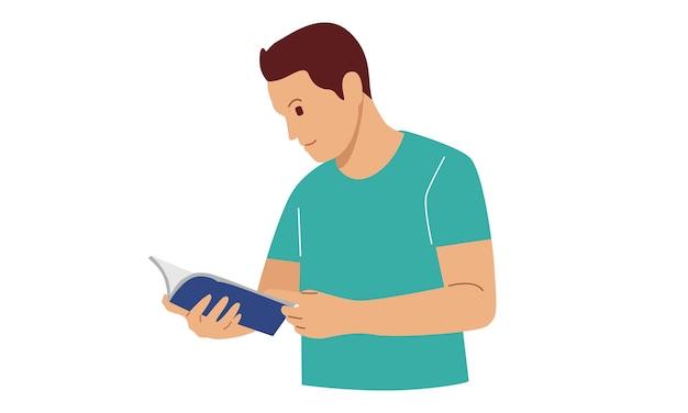 Junger mann, der ein buch liest