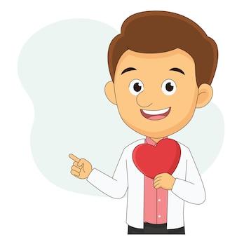 Junger mann, der ein großes herz hält und gesten über valentinstag macht