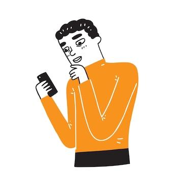 Junger mann, der ein mobiltelefon verwendet, das viele der funktionen eines computers ausführt, normalerweise mit einer touchscreen-schnittstelle, internetzugang und einem betriebssystem, das zum herunterladen geeignet ist