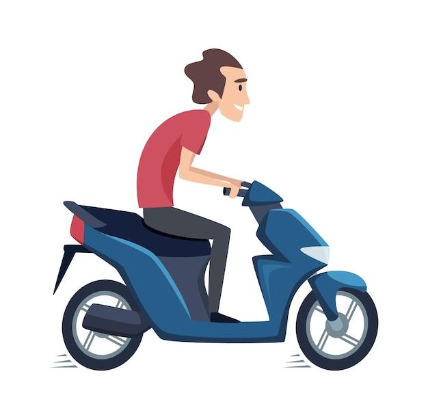 Junger mann, der ein motorrad fährt