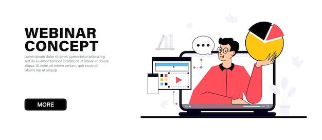 Junger mann, der ein webinar oder ein online-business-training durchführt