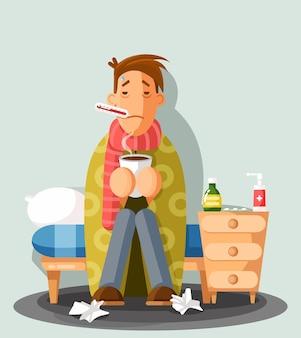 Junger mann, der eine erkältung hat und eine tasse hält, karikaturstil. ein mann im roten schal mit thermometer im mund