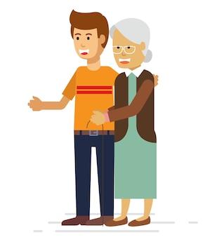 Junger mann, der einer älteren frau mit einem wanderer hilft