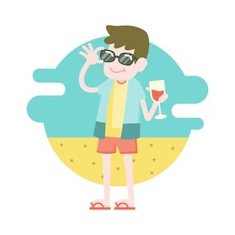 Junger mann, der entspannende und trinkende cocktails genießt