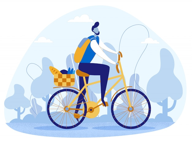Junger mann, der fahrrad-tragenden lebensmittelkorb reitet