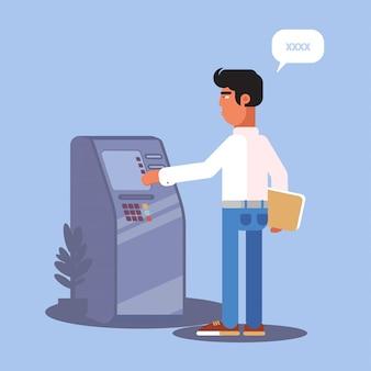 Junger mann, der flache farbillustration des geldautomaten verwendet