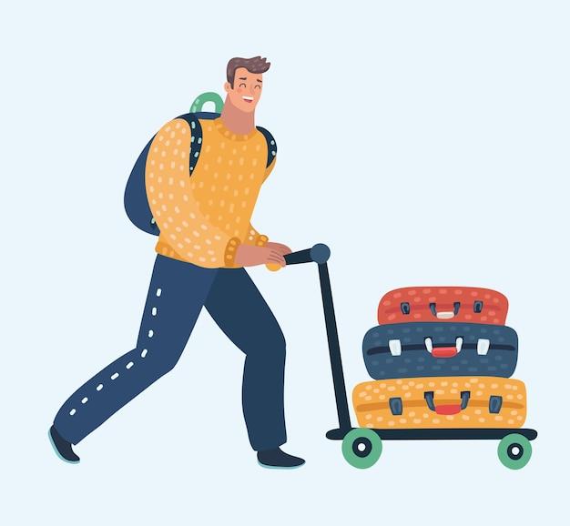 Junger mann, der flughafenwagen mit gepäck, koffern, taschen, karikaturillustration auf hintergrund mit platz für text drückt