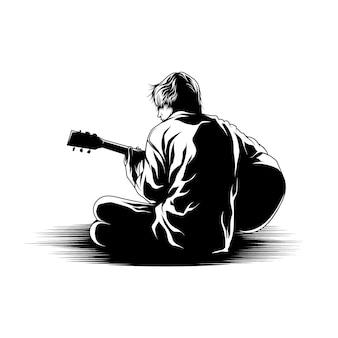 Junger mann, der gitarrenillustration spielt