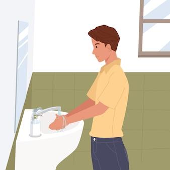 Junger mann, der hände zu hause wäscht, die hand unter fließendem wasser im waschbecken reinigen. prävention gegen viren und infektionen. hygienekonzept. illustration in einem flachen stil