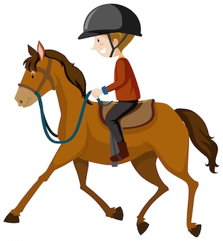 Junger mann, der helm oder reiter trägt, die einen pferdekarikatur lokalisiert reiten