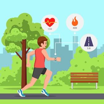 Junger mann, der im park mit pulsmesseruhr läuft oder joggt.