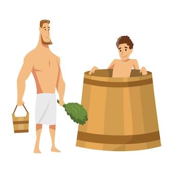 Junger mann, der in einer wanne sitzt. badehaus oder banja-verfahren. flache leute. aktivität für wellness und erholung. menschen, die saunaverfahren genießen