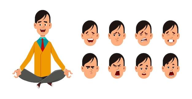 Junger mann, der in yogahaltung sitzt oder meditiert. charakter des jungen mannes mit unterschiedlichem gesichtsausdruck.