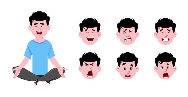 Junger mann, der in yogahaltung sitzt und meditiert. moderner charakter des jungen mannes mit unterschiedlichem gesichtsausdruck.