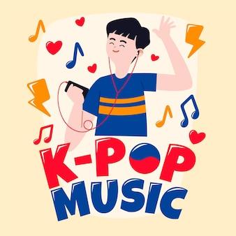 Junger mann, der k-pop-musik hört