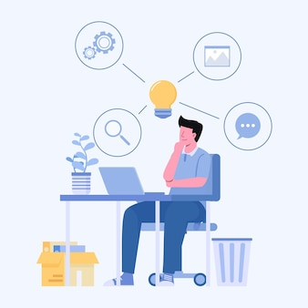 Junger mann, der laptop verwendet, um auf schreibtisch zu arbeiten und zu suchen, und er bekommt idee, zeichentrickfilmfigur isolierte illustration