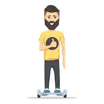 Junger mann, der mit bart auf hoverboard lächelt.
