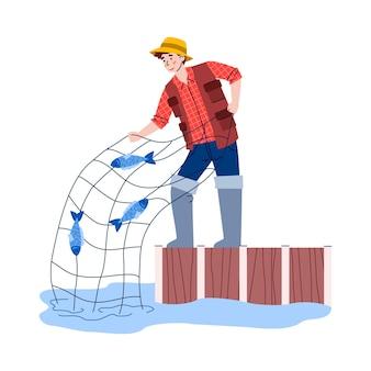 Junger mann, der mit flacher karikaturvektorillustration des netzes lokalisiert auf weiß fischt