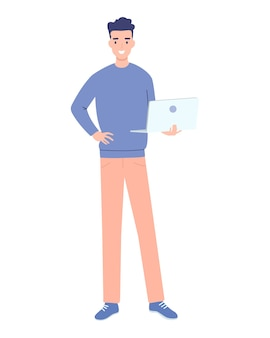 Junger mann, der mit laptop in den händen flache entwurfsillustration lokalisiert auf weißem hintergrund steht. vertikales layout.