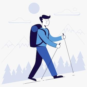 Junger mann, der mit rucksack wandert.