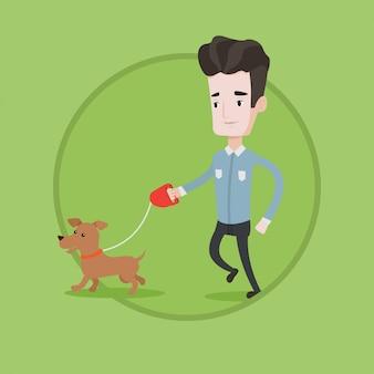 Junger mann, der mit seiner hundevektorillustration geht