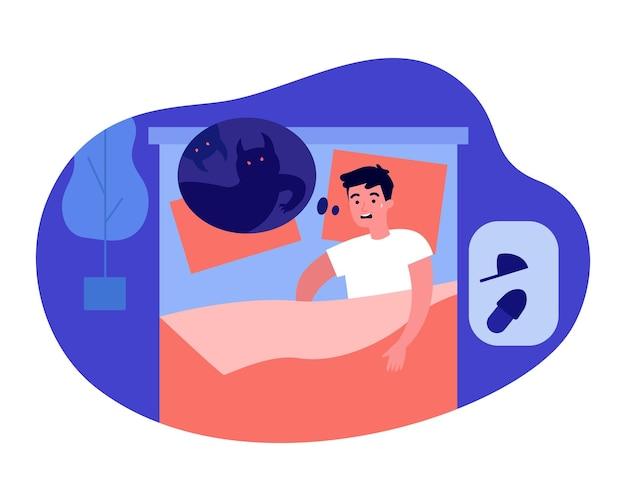 Junger mann, der nachts aus einem albtraum aufwacht. erschrockener männlicher charakter, der an monster in der flachen vektorillustration des bettes denkt. schlaflosigkeit, schlafstörungskonzept für banner, website-design oder landing-webseite