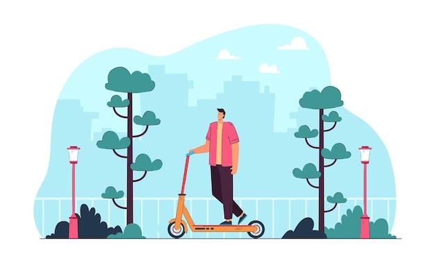 Junger mann, der roller in der modernen stadt reitet. flache vektorillustration
