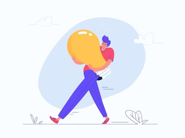 Junger mann, der schwere gelbe birne trägt. flache moderne vektorgrafik der belastung durch kreative lösungen, brainstorming und denken. lässiges design von menschen, die eine ideenlampe auf weißem hintergrund generieren