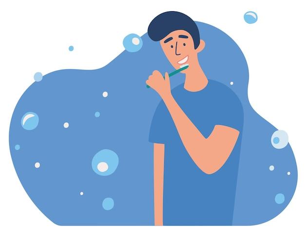 Junger mann, der seine zähne mit zahnbürste putzt tägliche morgenroutine mund- oder zahnhygiene