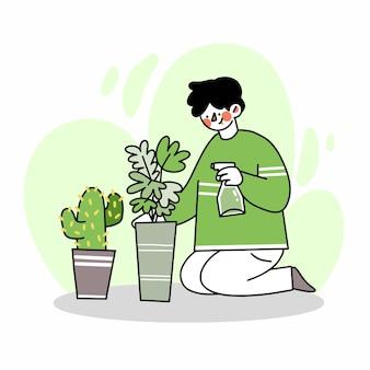 Junger mann, der sich um seine pflanzenkritzeleiillustration kümmert