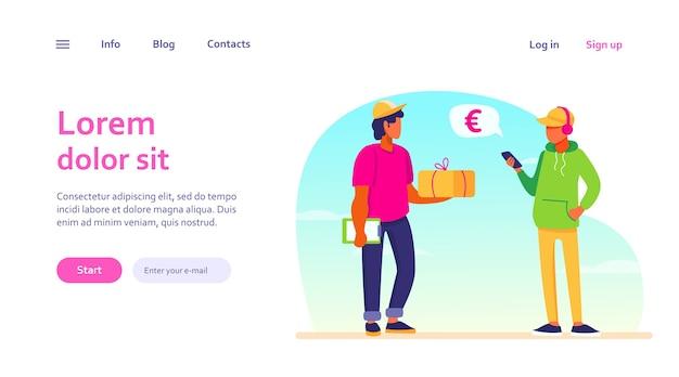 Junger mann, der smartphone-app zum bezahlen für lieferauftrag verwendet. kurier, der dem kunden paket gibt. mobiles bezahlen, servicekonzept für website-design oder landing-webseite