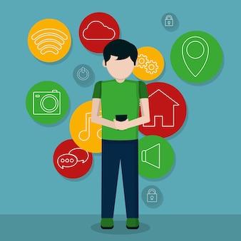 Junger mann, der smartphone apps verwendet