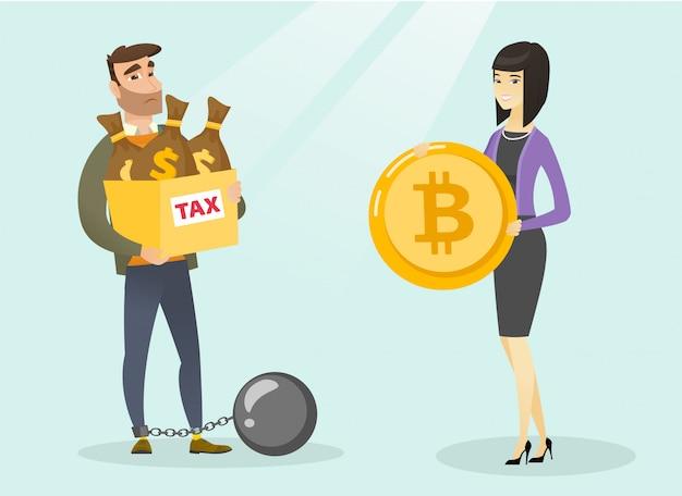 Junger mann, der steuerfreie zahlung durch bitcoins wählt.
