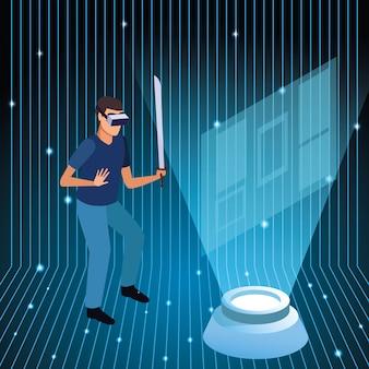Junger mann, der technologie der virtuellen realität einsetzt
