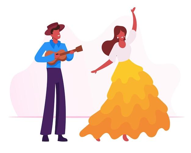 Junger mann, der ukulele-gitarre spielt, um traditionellen tanz des mädchens am karneval von rio zu tanzen. karikatur flache illustration