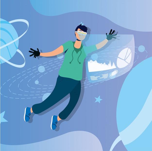 Junger mann, der virtuelle technologie der realität in der interaktiven anzeige verwendet