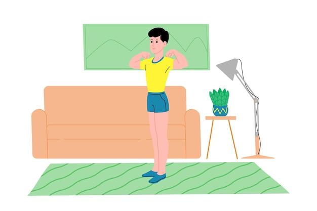 Junger mann, der während der quarantäne zu hause sportübungen, heimtraining und fitness macht und einen gesunden lebensstil führt. flache vektorillustration. menschen, männer und frauen, die das haus als fitnessstudio nutzen.
