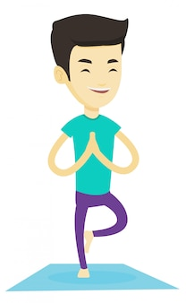 Junger mann, der yoga-baumhaltung praktiziert.