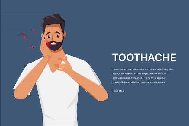 Junger mann, der zahnschmerzcharakter fühlt. schmerzen im mund. medizinisches zentrum gesundheitswesen.