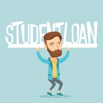 Junger mann, der zeichen des studentendarlehens hält.