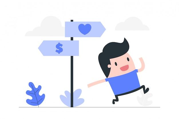 Junger mann, der zwischen liebe oder geld wählt.