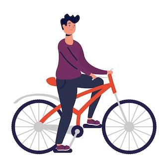 Junger mann fahren fahrrad üben aktivität.