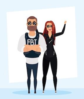 Junger mann-fbi-agent mit unhöflichen frauencharakteren