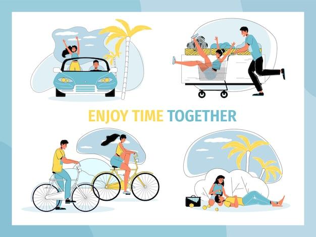Junger mann frau liebhaber genießen zeit zusammen. nettes paar, das zeit im freien verbringt, spaß im geschäft hat, sich auf picknick entspannt, mit dem auto oder fahrrad reist. romantisches set. menschen lifestyle-konzept