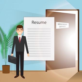 Junger mann geht zu einem interview auf der suche nach einem neuen job