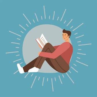 Junger mann hält ein buch und genießt das lesen studieren männlicher charakter auf hintergrund mit strahlen modern...