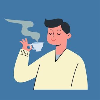 Junger mann hält eine tasse tee. heißer kaffee im winter, vektorillustration.