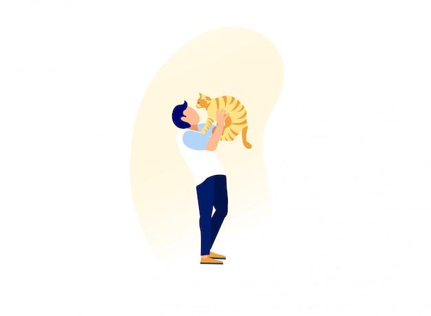 Junger mann halten hände, umarmt und kuschelt katze